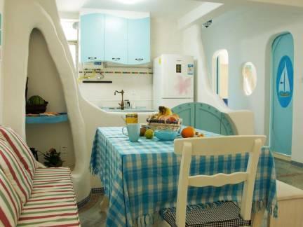 地中海风格四居室餐厅卡座装修设计