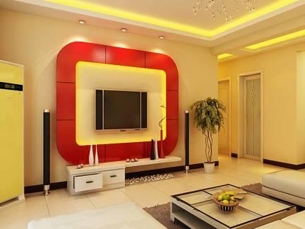 现代唯美地中海风格三居室客厅电视背景墙设计大全