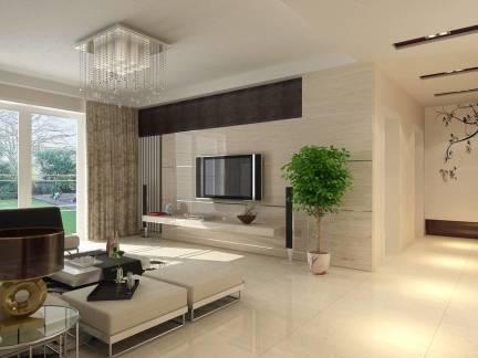 现代简约风格客厅电视背景墙实景图