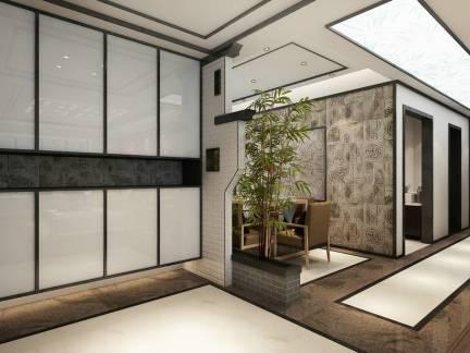 中式风格五居室室内走廊高档地板砖精装效果图-2018高档室内装修