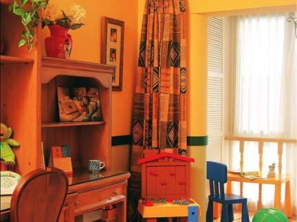 乡村美式风格复式楼儿童房实木书桌装修设计