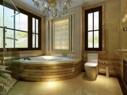 奢华欧式风格别墅浴室浴缸马桶效果图欣赏