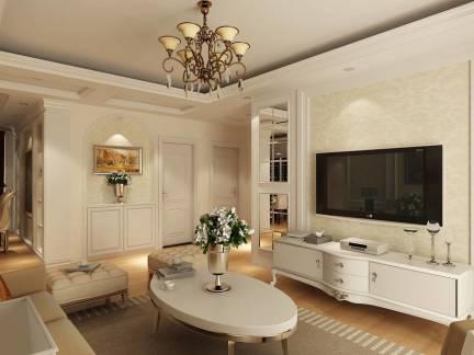 白色柔美简欧客厅吊顶电视背景墙设计