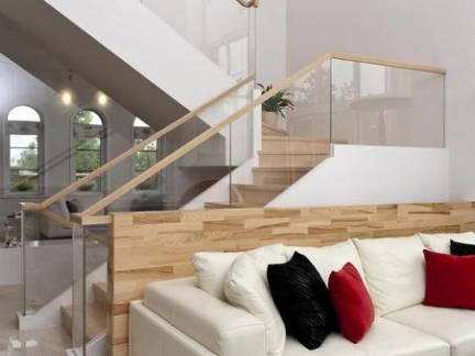 简约风格复式楼书房实木楼梯扶手装修设计