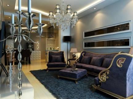 柔紫迷醉欧式客厅吊顶沙发背景墙效果图