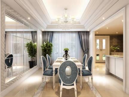 淡雅欧式餐厅吊顶窗帘装修图欣赏