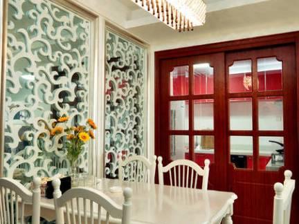小户型田园风格餐厅镂空隔断装修设计