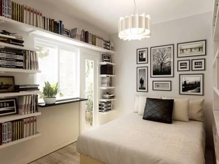 2017卧室创意书架设计图 房天下装修效果图