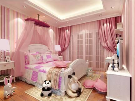 欧式别墅粉色儿童房吊顶窗帘图欣赏