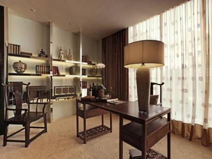 小户型中式风格书房窗帘装修设计