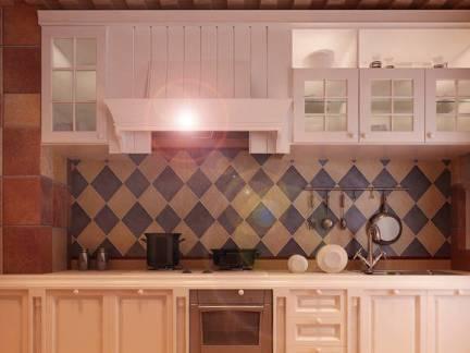 地中海风格别墅厨房整体橱柜装修效果图