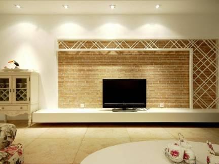 田园风格客厅定制电视背景墙装饰效果图