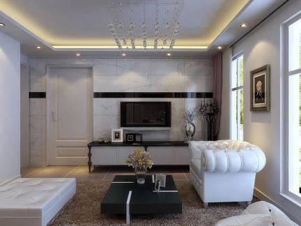 现代三室两厅客厅吊顶装修设计