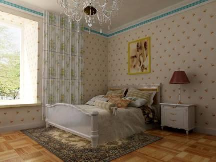134平米三居室欧式风格卧室墙纸设计欣赏