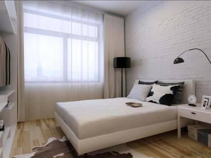 现代简约卧室白色窗帘设计图欣赏
