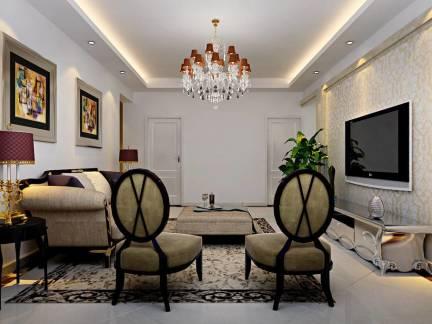 欧式风格四居室客厅电视背景墙装修效果图