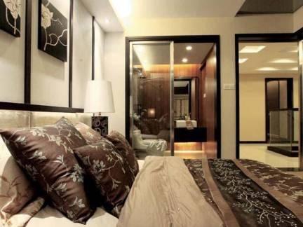 灰色雅调中式日式混搭卧室背景墙设计