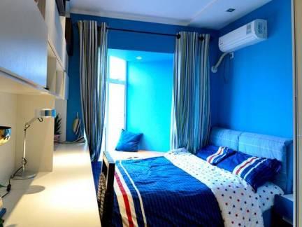 地中海风格小户型卧室蓝色墙漆装修设计