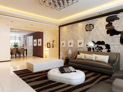 现代简约中国风背景墙装修效果图