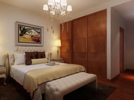 三室两厅美式卧室实木衣柜图片欣赏