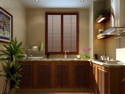 东南亚风格小户型厨房木制橱柜图片欣赏