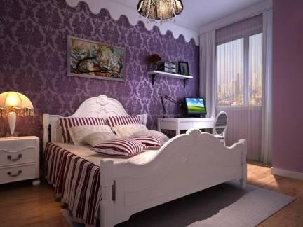 新房三居室卧室紫色背景墙图片欣赏