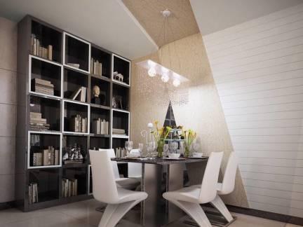 简美现代餐厅吊顶书柜装修图