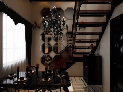 小户型复式楼实木楼梯装修效果图