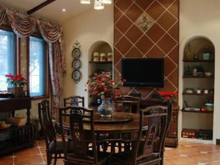 传统美式别墅餐厅吊顶电视背景墙设计