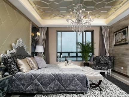 豪华欧式风格别墅卧室集成吊顶装修效果图