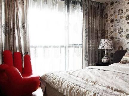 都市四居室卧室窗帘装修设计