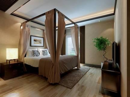 三居室卧室实木床头柜装修设计