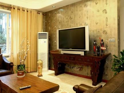 中式古典风格小户型客厅电视背景墙装修设计