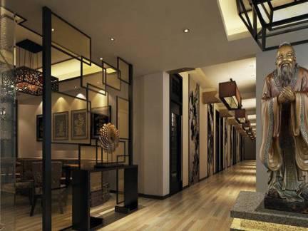 大型中式别墅走廊玄关装修效果图