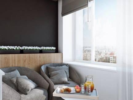 现代简约风格四居室阳台窗帘装修设计