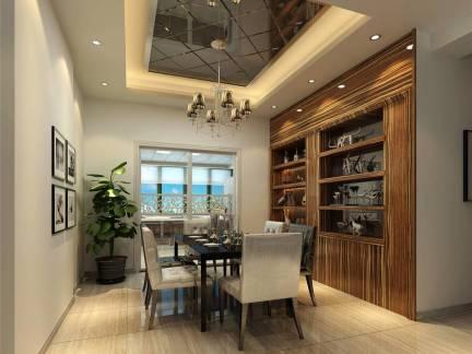质感现代雅居餐厅棕色酒柜效果图