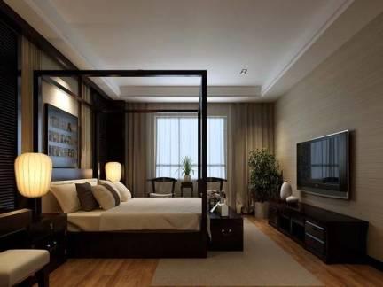 新中式风格别墅卧室背景墙装修设计