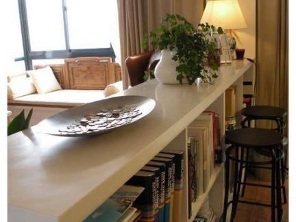 现代创意混搭客厅书柜吧台效果图