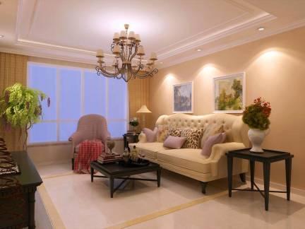 清雅小户型简欧客厅吊顶沙发背景墙设计