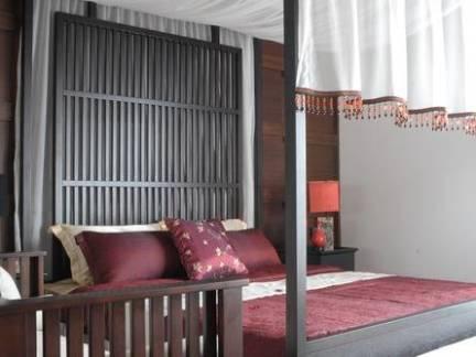 个性复古中式卧室背景墙设计图欣赏