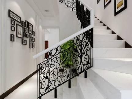 经典黑白调欧式别墅楼梯照片墙效果图
