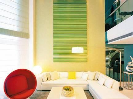 简约复式楼客厅背景墙图片欣赏