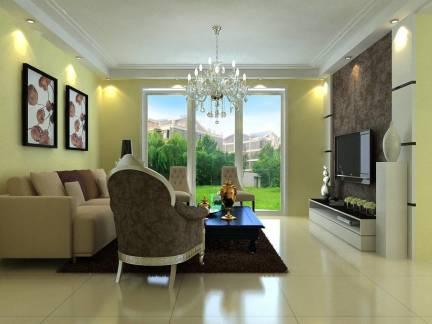 韩式风格客厅浅黄色背景墙实景图