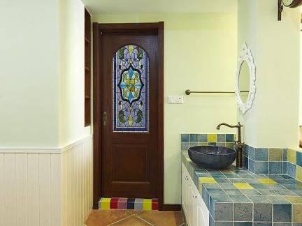 欧式风格别墅卫生间洗手台墙面瓷砖装修设计