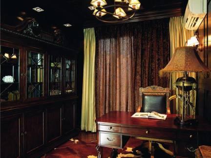 美式风格复式楼书房实木书桌书柜装修设计