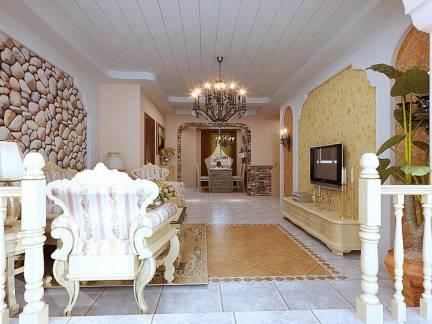 田园风格五居室客厅电视墙装修设计
