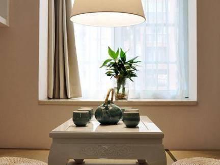 简美日式榻榻米茶室吊灯飘窗设计图