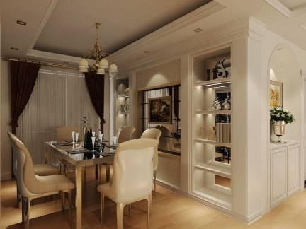 白色浪漫欧式餐厅吊顶背景墙效果图