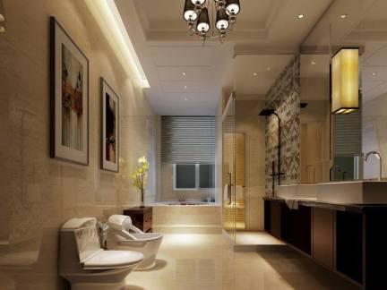 现代简约别墅大户户型卫生间吊顶照片墙图片
