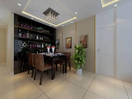 单身公寓餐厅定制实木红酒柜效果图欣赏